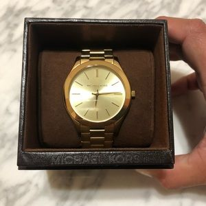 Unisex Slim Runway Gold-Tone Watch 42mm MK3179